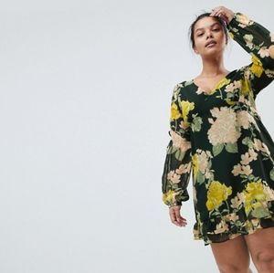 BOOHOO - NWT Floral Frill Hem Mini Dress